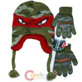 TMNT Ninja Turtles Laplander Beanie and Gloves Set -Raphael