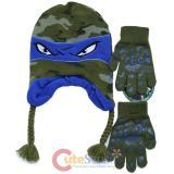 TMNT Ninja Turtles Laplander Beanie and Gloves Set -Leonardo
