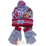 Paw Patrol Girls Beanie Hat Mitten Gloves Set with Skye Everest