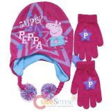 Peppa Pig Knitted Beanie Hat Gloves Set Super Peppa