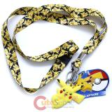 Pokemon Lanyard Keychain ID Holder Pikachu All Over with PVC Charm Dangle