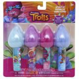 Dreamworks Trolls Lip Balm 4pc Set with Hair Topper