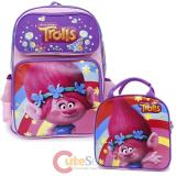 "Dreamworks Trolls Poppy 16"" Large School  Backpack Lunch Bag 2pc Book Bag Set"