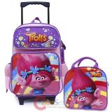 Trolls Poppy Removable Wheels Large Rolling Backpack  Lunch Bag Set