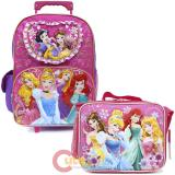 Disney Princess Floral Large School Roller Backpack with Lunch Bag Set