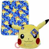 Pokemon Pikachu Fleece Throw Blanket with Plush Pillow Cushion Set