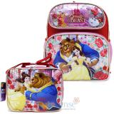 Disney Princess Beauty and the Beast 12in School Backpack Lunch Bag 2pc Set