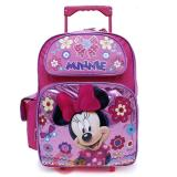 "Disney Minnie Mouse Large School Roller Backpack 16"" Rolling Bag- Glittering Pink"