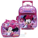 "Disney Minnie Mouse 12"" School Roller Backpack Lunch Bag Set- Glittering Pink"