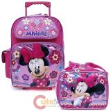 Disney Minnie Mouse Large  School  Roller Backpack with Lunch Bag Set- Glittering Pink