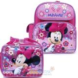 "Disney Minnie Mouse 12"" Small Backpack with Lunch Bag Set - Glittering Pink"