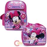 Disney Minnie Mouse Large School Backpack with Lunch Bag Set - Glittering Pink