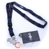 DC Comic Batman Texture Suit Lanyard , ID Holder with Metal Emblem