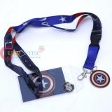 Marvel Captain America Suite Texture Lanyard , ID Holder with Metal Emblem