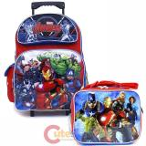 "Marvel Avengers 16"" Large School Roller Backpack Lunch Bag 2pc Set"