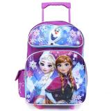 "Disney Frozen Elsa Anna 16"" School Roller Backpack Large Rolling Bag-Floral Flakes"