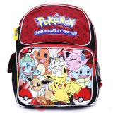 Pokemon 12in School Backpack Book Bag Red Group