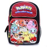 "Pokemon Large School Backpack 16"" Book Bag Red Group"
