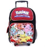 "Pokemon Large School Roller Backpack 16"" Rolling Bag Red Group"