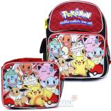 "Pokemon Pikachu 12"" School  Backpack Lunch Bag 2pc Book Bag Set - Red Group"