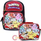 "Pokemon 16"" Large School  Backpack Lunch Bag 2pc Book Bag Set - Red Group"