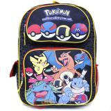 "Pokemon Large School Backpack 16"" Book Bag Pokeball Black Group"