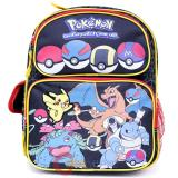 "Pokemon Pikachu 12"" School  Backpack Lunch Bag 2pc Book Bag Set - Pokeball Black Group"