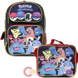 "Pokemon 16"" Large School  Backpack Lunch Bag 2pc Book Bag Set -Pokeball Black Group"