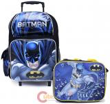 "DC Comics Batman 16"" Large School  Roller Backpack Lunch Bag 2pc Book Bag Set"
