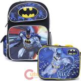 "DC Comics Batman 16"" Large School  Backpack Lunch Bag 2pc Book Bag Set"