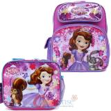 Disney Sofia the First 12in School Backpack Lunch Bag 2pc Set