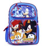 "Sonic The Hedgehog School Backpack  16"" Large Book  Bag -Checker"