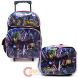 "Marvel Avengers 16"" Large School Roller Backpack Lunch Bag 2pc Set -IW"