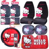 Hello kitty Core Car Seat Covers Accessories Compleate 10pc with Full Sunshade