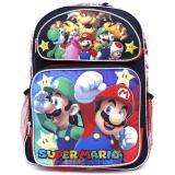 "Nintendo Super Mario Large School Backpack 16"" Book Bag - Sub Black"
