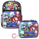 "Super Mario Large 16"" School Backpack Lunch Bag 2pc Set - Sub Black"