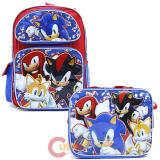 "Sonic The Hedgehog 16"" Large School Backpack Lunch Bag Set -Sonic Sub"