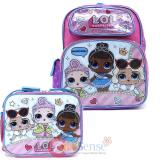 "LOL Surprise 12"" School  Backpack Lunch Bag 2pc Book Bag Set -Work It BB"