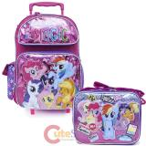 "My Little Pony 16"" Large School Roller Backpack Lunch Bag 2pc Set -Friendship Magic"