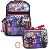 Five Nights at Freddys Large School Backpack Lunch Bag Set -Red