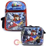 """Super Mario Large 16"""" School Backpack Lunch Bag 2pc Set -Odyssey"""