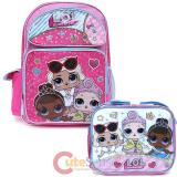 "LOL Surprise 16"" Large School  Backpack Lunch Bag 2pc Book Bag Set -Work It BB"