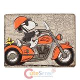 Snoopy on a Chopper Embossed Tin Magnet