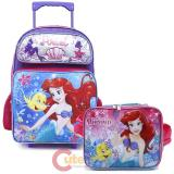 Disney Little Mermaid Ariel Large School Roller Backpack Lunch Bag 2pc Set - Sea Shell