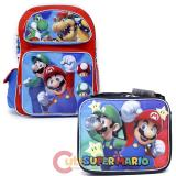 "Super Mario Large 16"" School Backpack Lunch Bag 2pc Set"