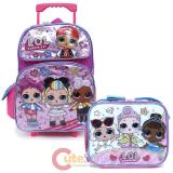 "LOL Surprise 16"" Large School Roller Backpack Lunch Bag 2pc Set"
