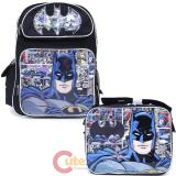 "DC Batman 16"" Large School  Backpack Lunch Bag 2pc Book Bag Set Comics"