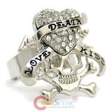Skull Love Kiss  Ring
