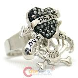 Skull Love Kiss  Ring Black