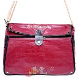 Red Casual Messenger Bag PU Silver Knight
